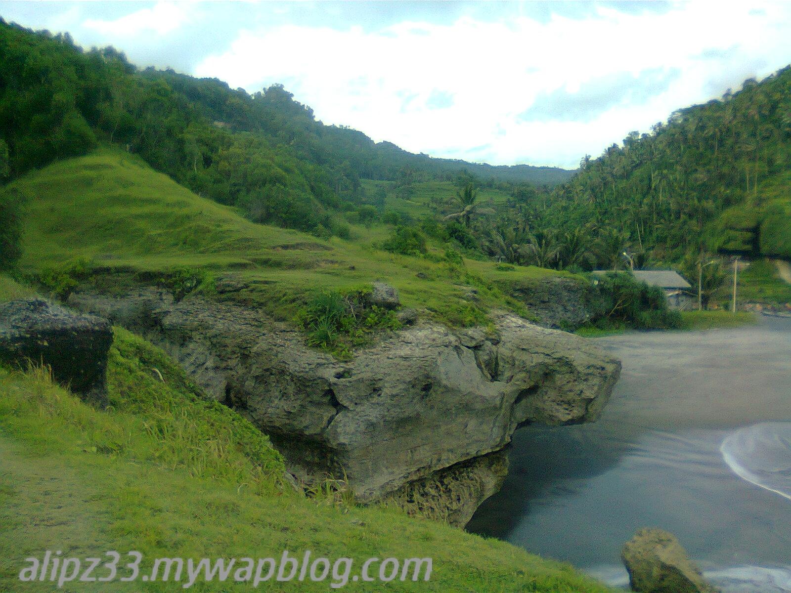 Bukit hijau belakang pantai tawang katipugal pacitan