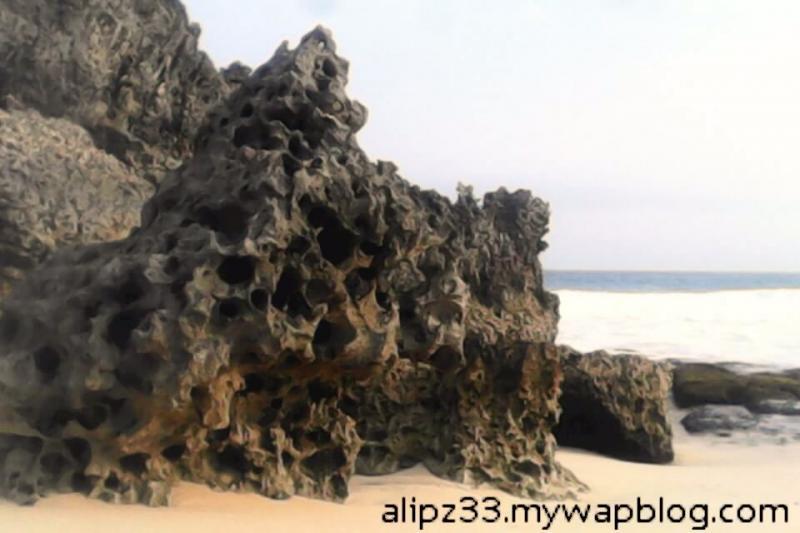 bebatuan karang timur pantai denombo jlubang pringkuku wisata pacitan